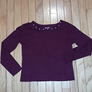 Maroon Pearls Long Sleeved Triangle Cut Out Neck s